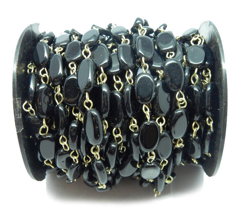 Black Onyx Freeform Nugget Chain -- Antique Gold Toned Wire Wrapped Glass Beaded Chain