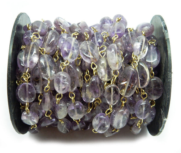 Amethyst Quartz Freeform Nugget Chain -- Antique Gold Toned Wire Wrapped Glass Beaded Chain
