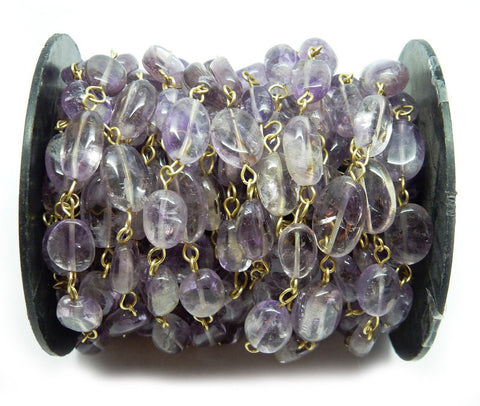 Amethyst Wire Wrapped Beaded Chain - Gold over Sterling OR Gold Plated Rosary Style Chain (CHN-82)