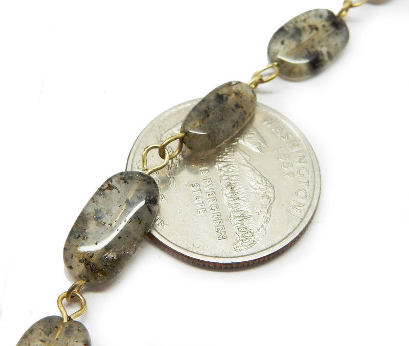 Labradorite Freeform Nugget Chain -- Antique Gold Toned Wire Wrapped Glass Beaded Chain