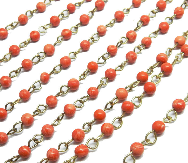 Red Coral Colored Round Chain -- Antique Gold Toned Wire Wrapped Glass Beaded Chain