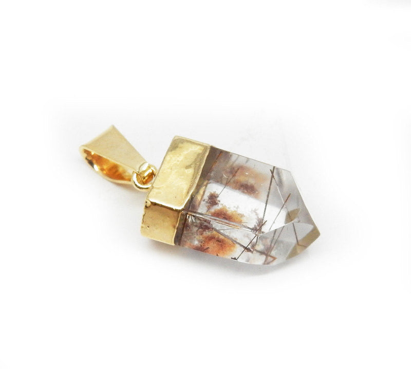 Petite Smokey Crystal Quartz Polished Rutilated Pendant with Electroplated 24k Gold Edge