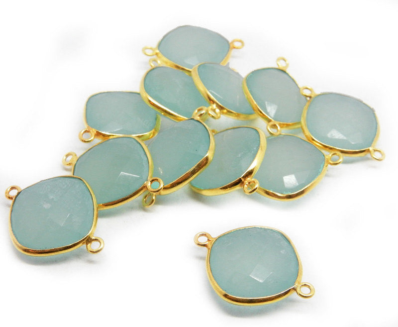 14mm Sea Green Chalcedony Bezel Connector Square Cushion Cut Charm Pendant - 14mm Gold over Sterling Silver Bezel Pendant