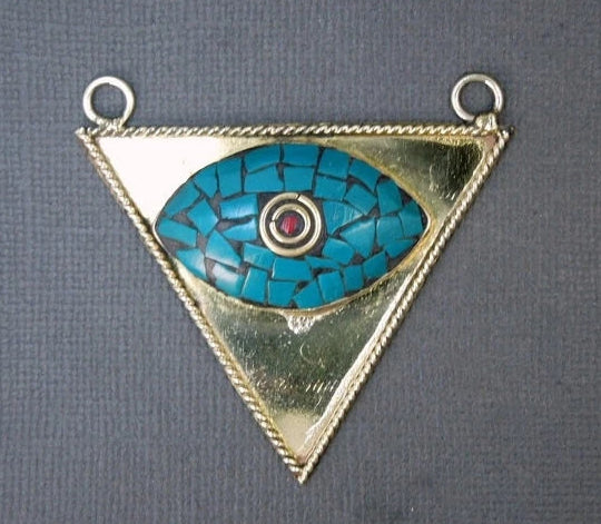 Tibetan Double Bail Pendant-  Brass with Turquoise Mosaic Triangle Eye Pendant with Red Coral Inlayed (S51B6-01)
