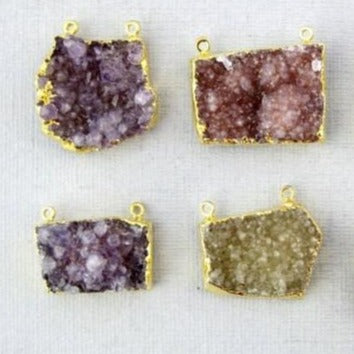 Druzy Amethyst Stalactite Slice Crystal with Electroplated 24k Gold-Layered Edge and Double Bail Pendant (S1B10-01)