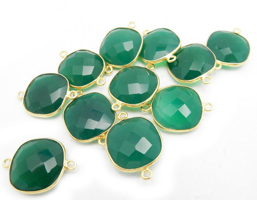15mm Green Onyx Square Connector Bezel - Gold Over Sterling Bezel Charm Pendant