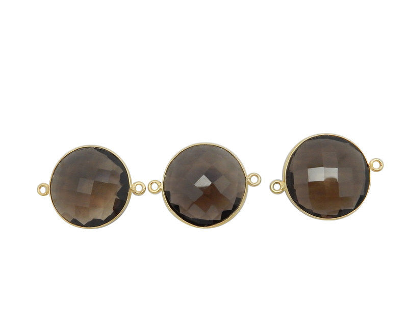 19mm Smokey Quartz Round Double Bail  Charm Pendant- Gold Over Sterling Silver Bezel Charm Pendant