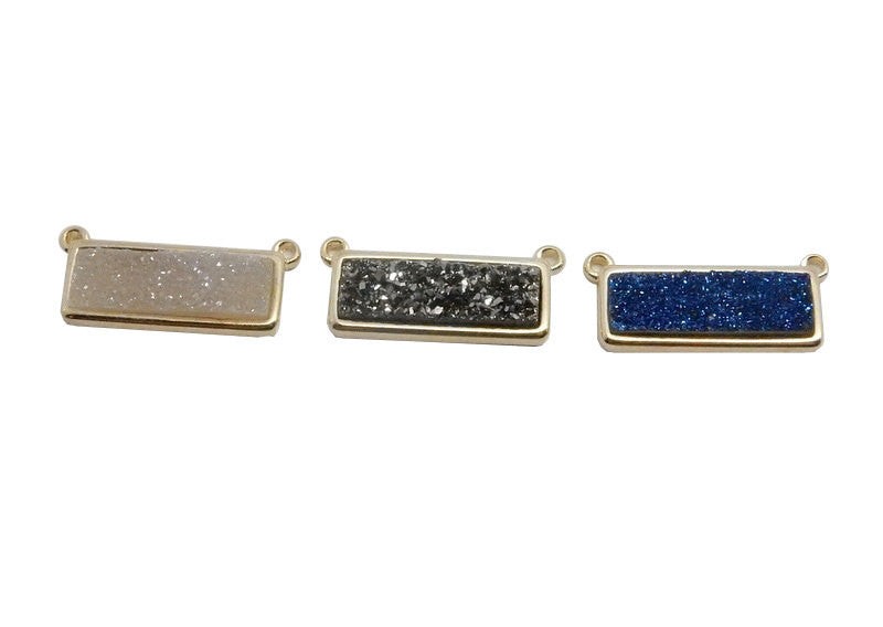 Mystic Blue Shimmer Druzy Bar Double Bail Pendant set in a Gold Plated Bezel
