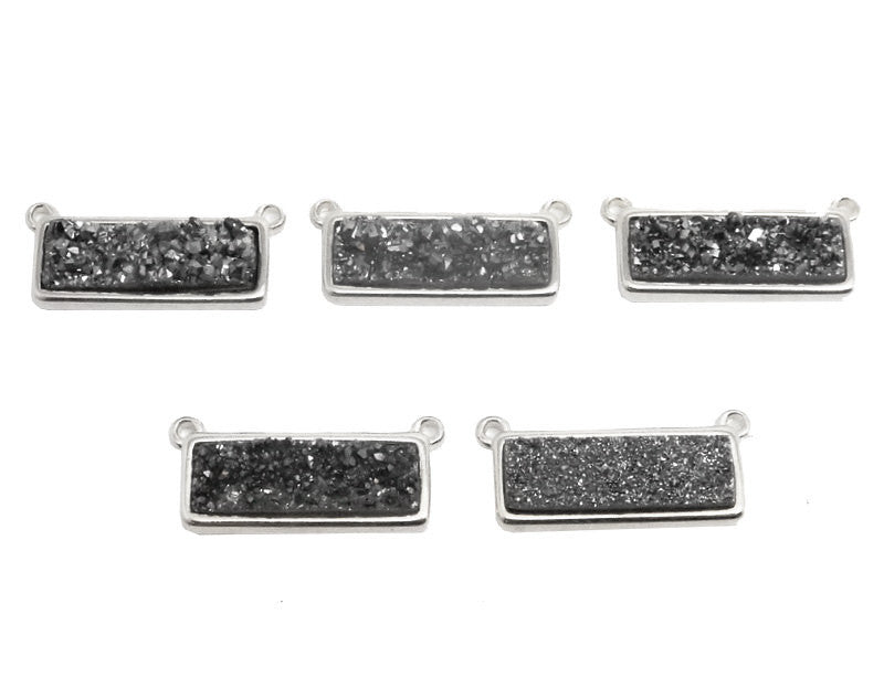 Black Diamond Shimmer Druzy Bar Double Bail Pendant set in a Silver Plated Bezel