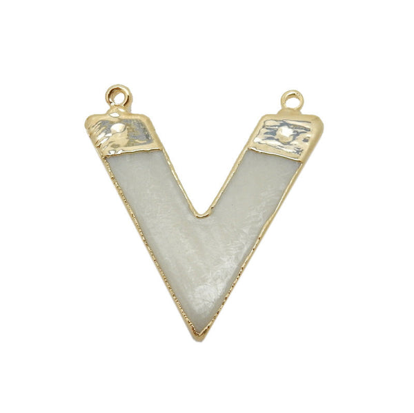 White Bone Chevron Double Bail Pendant with Electroplated 24k Gold Edge
