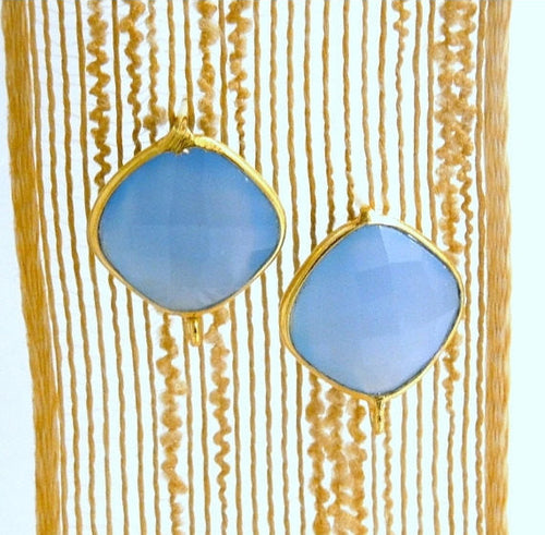 Aqua Blue Chalcedony Cushion Cut Stud Earrings with Gold Over Sterling Silver Bezels and Bails