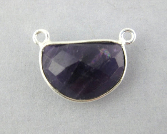 Amethyst Station Semi-Circle Connector -15mm x 11mm Sterling Silver Bezel Link - Double Bail Charm Pendant