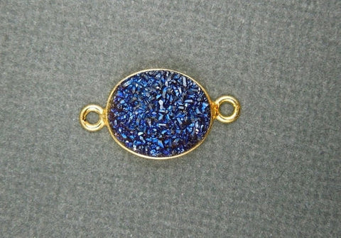 12% off Wholesale Druzy Druzzy Drusy Blue Oval Station Connector Charm Bezel Link Gold Vermeil double bail 10mm x 12mm  (DCO56)