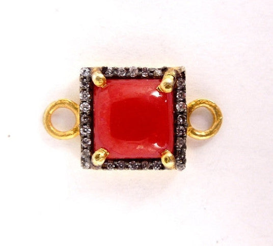 12% off Wholesale Red Coral Colored Faceted Station Square Connector - Gold over sterling with Rhinestone Pave Link - Double Bail Charm Pend