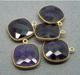 Amethyst Station Square Pendant - 15mm Gold Over Sterling Bezel Link - Charm Pendant