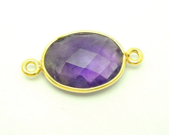 Amethyst Oval Double Bail Charm Pendant Connector -11mm x 15mm Gold Over Sterling Bezel Charm Pendant
