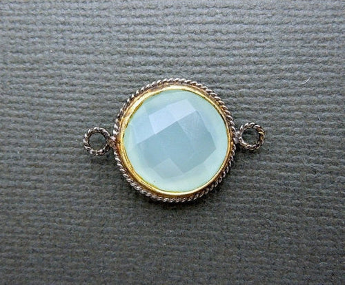 Aqua Blue Chalcedony Connector Pendant-17mm Round with Gold and Braided Oxidized Sterling Silver Bezel Double Bail Charm Pendant