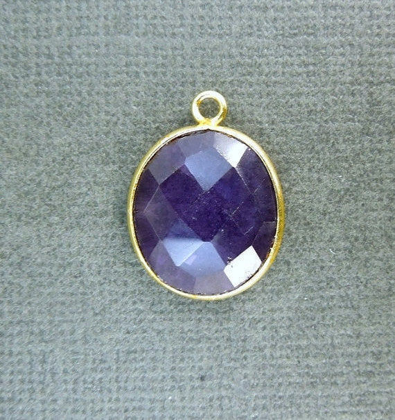 Amethyst Station Oval Pendant- 14mm x 17mm Gold Layered Bezel Link - Single Bail Charm Pendant