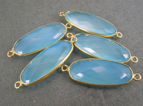 Aqua Blue Chalcedony Oval Connector Pendant -26mm x 10mm 22k Gold edged bezel Link- Double Bail Pendant