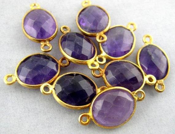 Amethyt Station Oval Connector - 10mm x 9mm Gold over Sterling Bezel Link Double Bail Charm Pendant