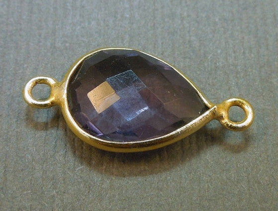 Amethyst Station Bezel Connector - Gold layered 10 x 13mm - Teardrop
