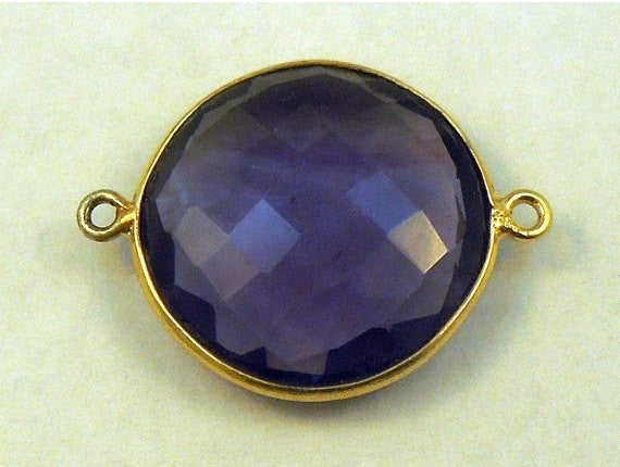 Amethyst Station Round Connector - 20mm Gold layered Bezel Link - Double Bail Charm Pendant