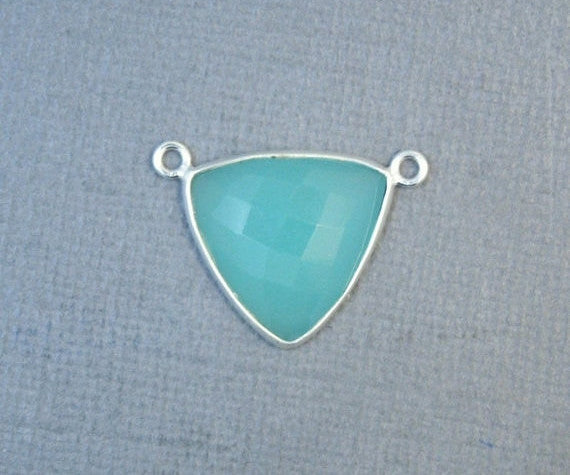 Aqua Blue Chalcedony Trillion Cut Double Bail Pendant- 19mm Sterling Silver Bezel Charm Pendant