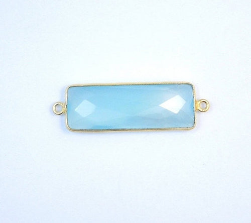 Aqua Blue Chalcedony Station Bar Connector - Gold over Sterling Silver Bezel Link Double Bail Charm Pendant