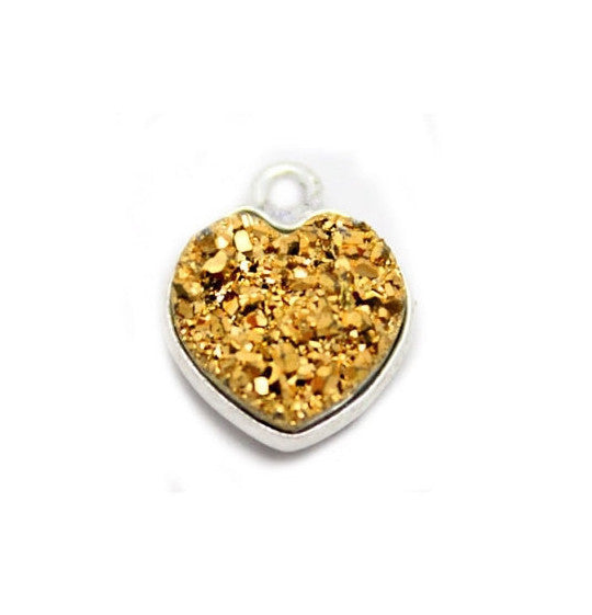 Sterling Silver Copper Shimmer Druzy - 10mm - Heart Shaped Bezel Pendant