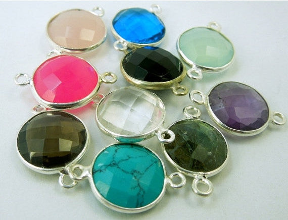 Assorted Gemstone Connectors with Silver plated Bezels- 12mm Double Bail Charm Pendants- SET of 10 (S21B2-02)