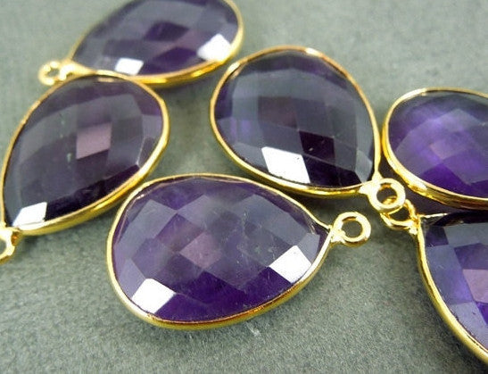 Amethyst  Station Teardrop Pendant- 15 x 20 mm Gold Layered Bezel Link - Single Bail Charm Pendant