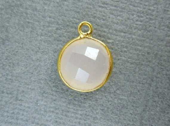 Gemstone Charm- Pink Chalcedony Round Charm Pendant- 10mm Gold Over Sterling Bezel Charm Pendant (WK-20)