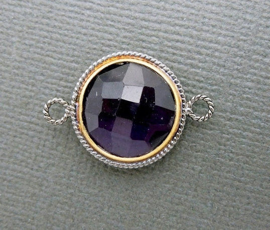 Amethyst Connector Pendant- 17mm Round with Gold and Braided Oxidized Sterling Silver Bezel Double Bail Charm Pendant