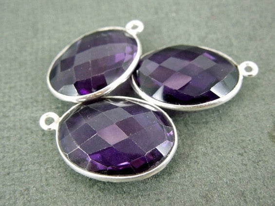 Amethyst Oval Pendant -18mm x 15mm Silver layered Bezel Pendant