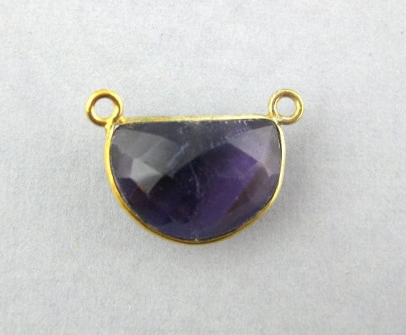 Amethyst Station Semi-Circle Connector -15mm x 11mm Gold Over Sterling Bezel Link - Double Bail Charm Pendant