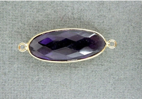Amethyst Oval Connector Pendant -26mm x 10mm 22k Gold layered bezel Link- Double Bail Pendant