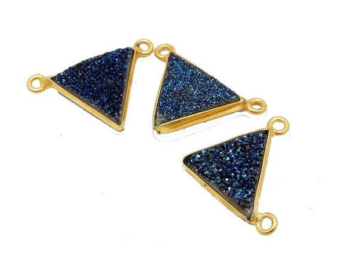 Dyed Blue/Purple Colored Druzy Double Bail Pendant -- Gold Plated Bezel Bar - Bzldruz