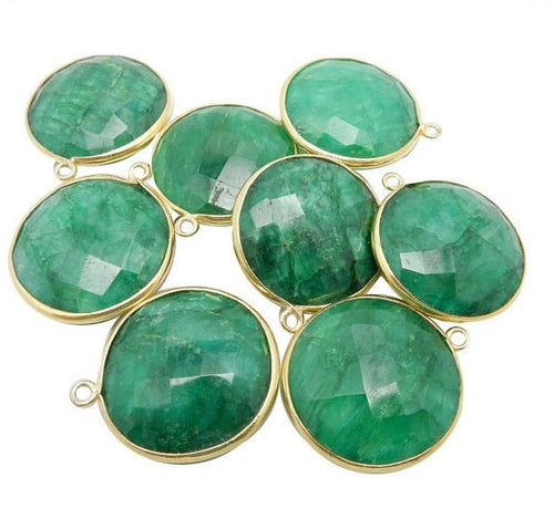 20mm Dyed Emerald Round Pendant - 20mm Gold over Sterling Bezel Charm Pendant