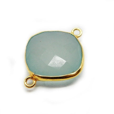 Aqua Blue Chalcedony Station Diamond Charm Pendant- 15mm x 21mm Gold Over Sterling Bezel Single Bail Charm Pendant