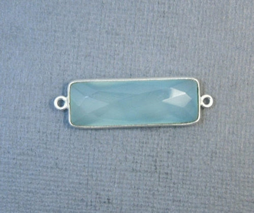 Aqua Blue Chalcedony Station Bar Connector - Sterling Silver Bezel Link Double Bail Charm Pendant