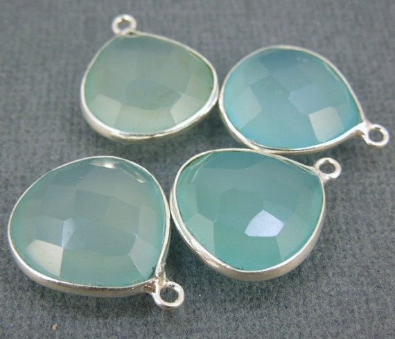 Aqua Blue Chalcedony Station Drop Pendant - 15mm Sterling Silver Charm Pendant
