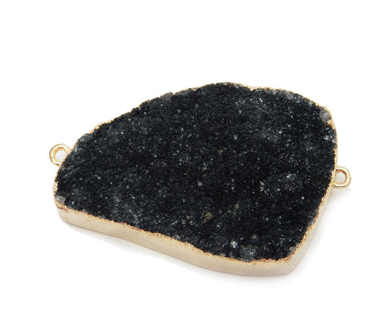 Freeform Black Druzy Double Bail Pendant with Electroplated 24k Gold Edge Medium DDZ - (S100B10-02)