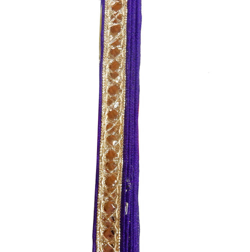 Sari Ribbon 30ft -- Gold & Purple Sari Ribbon with Gold Rhinestone and Swirl Accents -- ONE ROLL (S76B32-02)