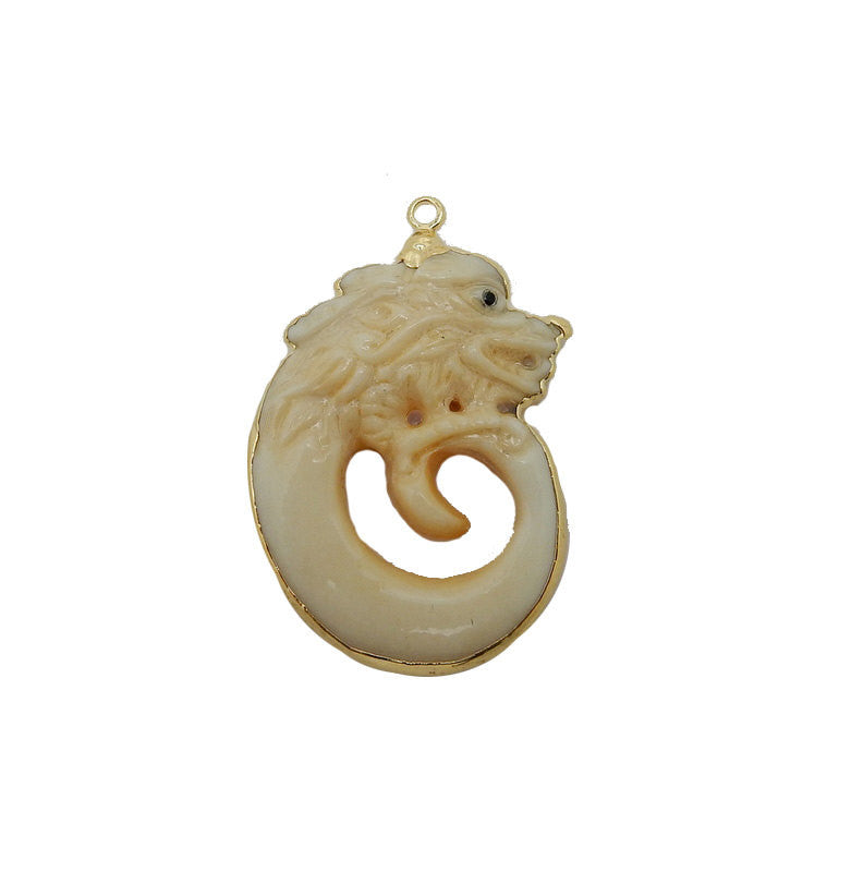 Dragon Pendant - Bone Spiral Dragon Pendant with Electroplated 24k Gold Edge