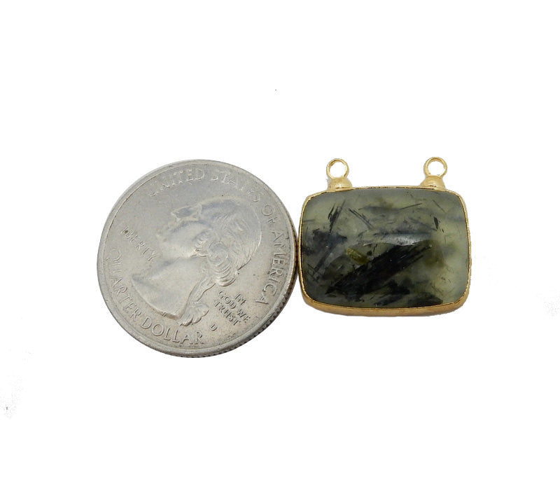 Prehnite Connector - Rectangle Prehnite Double Bail Pendant with Electroplated 24k Gold Edge (S93B12-08)