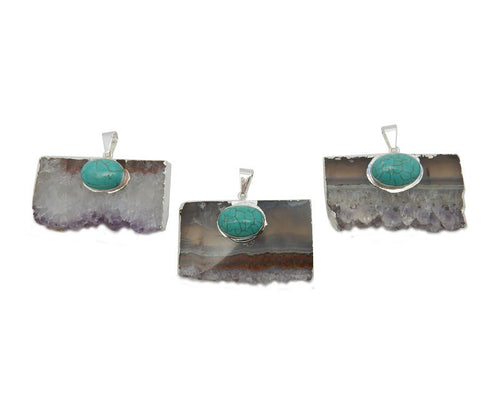 Amethyst Slice Pendant with Turquoise Howlite Oval Accent and Electroplated Silver Edge (S93B12-09)