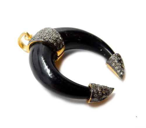 Pave Diamond Black Bone Crescent Pendant set in a Gold Over Oxidized Sterling Silver Caps and Band with Pave Diamonds