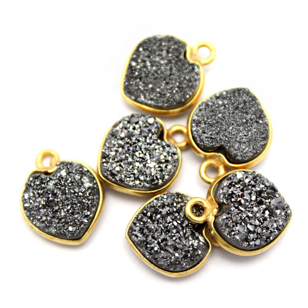 Gold Plated Sterling Black Shimmer Druzy - 10mm - Heart Shaped Bezel Pendant