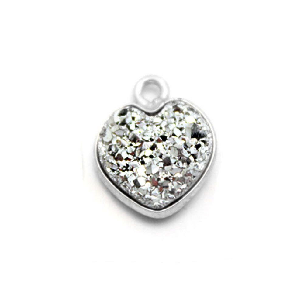 Sterling Silver Platinum  Shimmer Druzy - 10mm - Heart Shaped Bezel Pendant -