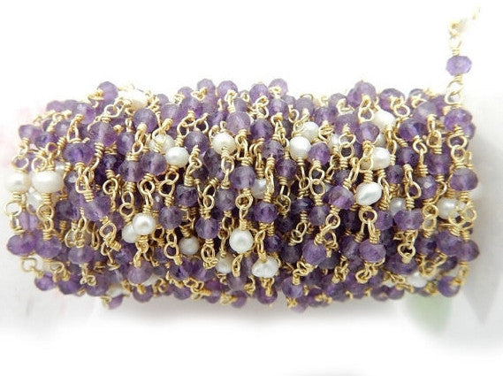 Amethyst and Pearl Rosary Beaded Chain Gold Plated Wire Wrapped chain by foot (CHN-617)